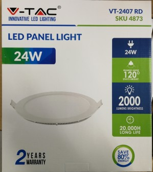 Eske med V-Tac 24W LED panel downlight - 10 stk.