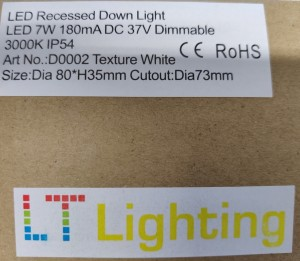 LED Recessed Downlight, 7 W fra LT lighting, 6 stykk